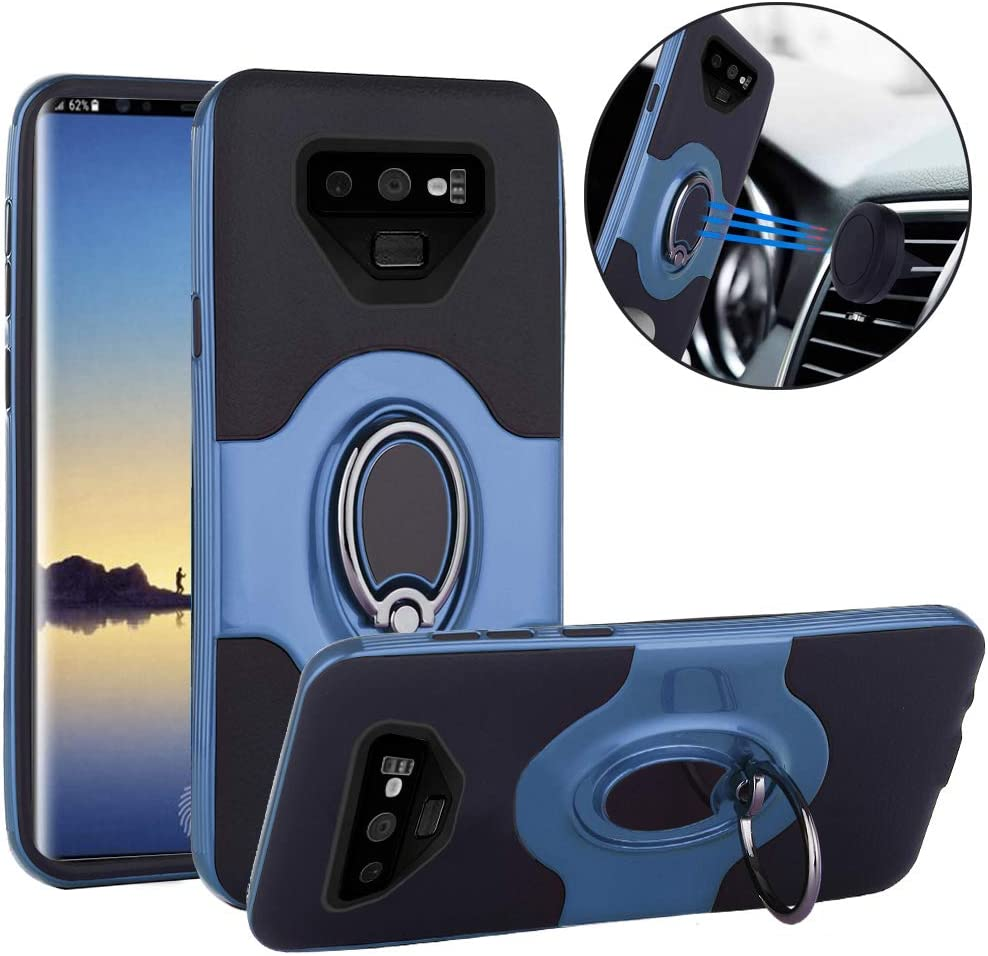Slim Drop Protection Cover Galaxy Note 9 case Improved Ring Grip Holder Stand Metallic Blue