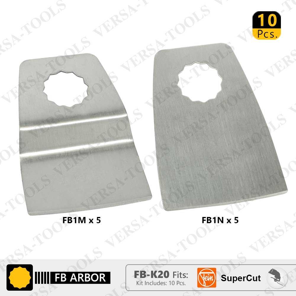 Versa Tool FB-K20 10 Pc 52mm Flush Cut (8mm Offset Mount) Stainless Steel Scraper Set for Fein Supercut Oscillating Tool