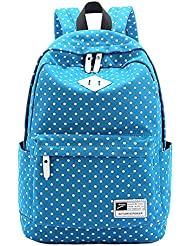 Hiigoo Classic Backpack Mainstream Canvas Big Shoulders Bags Satchels White Dots