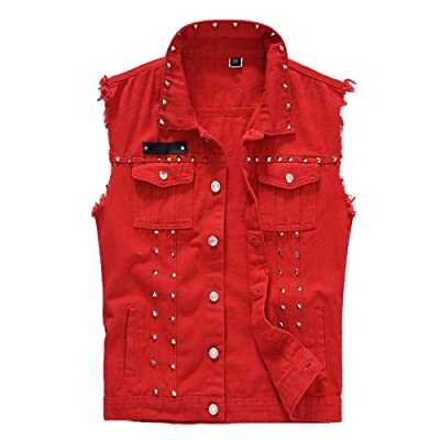 DOHAOOE Motorcycle Denim Vest Jacket at Men's Clothing store
