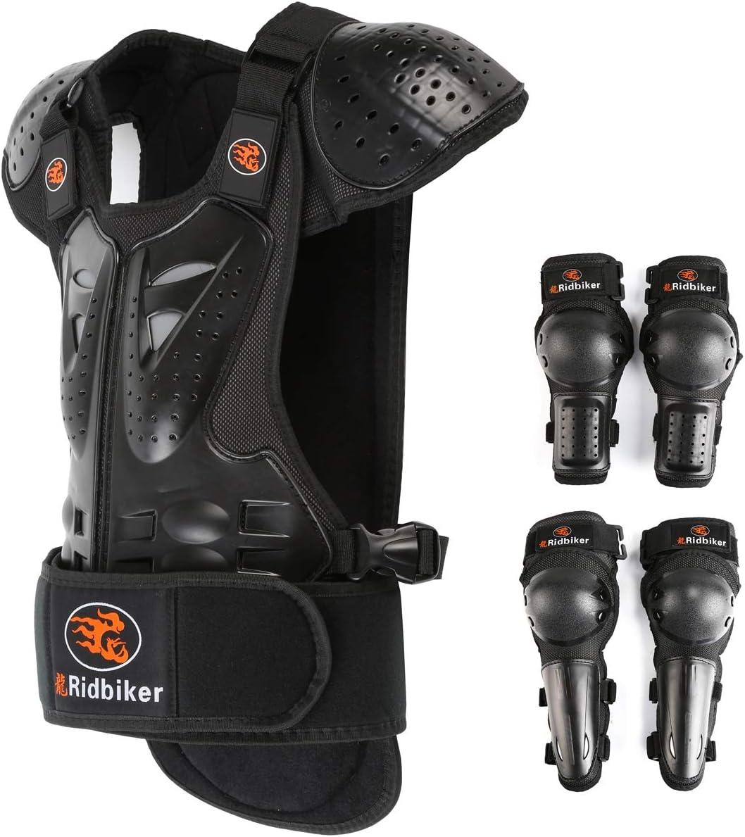 RIDBIKER Kids Motorcycle Armor Suit Dirt Bike Chest Spine Protector Back Shoulder Arm Elbow Knee Protector Body Armor Vest