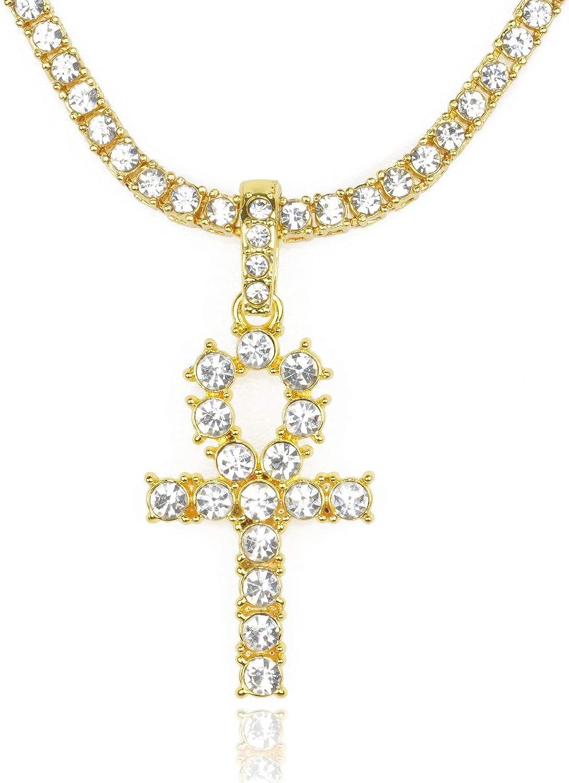 Cadena de Oro con Cruz Hombres Iced Out,Chapado en Oro Real de 18k/Platino Plateado en Oro Blanco Cruz Colgante Collar,Cz Completo Diamante Prong Set,con Cadena de Cuerda 60cm/Cadena Tenis 50cm