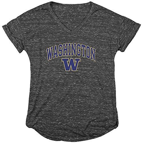 Washington Huskies Womens Vneck TShirt Charcoal - S