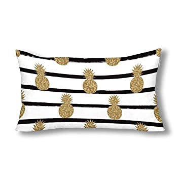 Interestprint Gold Glitter Pineapples Fruit On Black And White Stripes Decor Pillow Cover Case King Size 20x36 Inch, Decorative Rectangle Zippered Pillowcase Protector by Interest Print