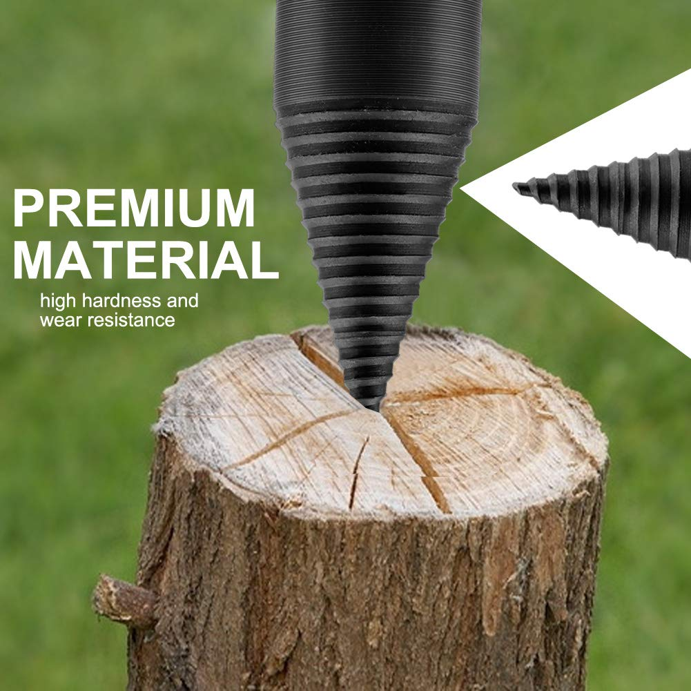 Lulalula Foret /à bois en forme de c/ône pour fendre le bois foret /à t/ête hexagonale /à haute vitesse pour bois de chauffage Foret /à b/ûches Outil pour briser le bois 38 mm