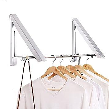 2 Pack] aluminio accesorio de perchas para ropa plegable ...