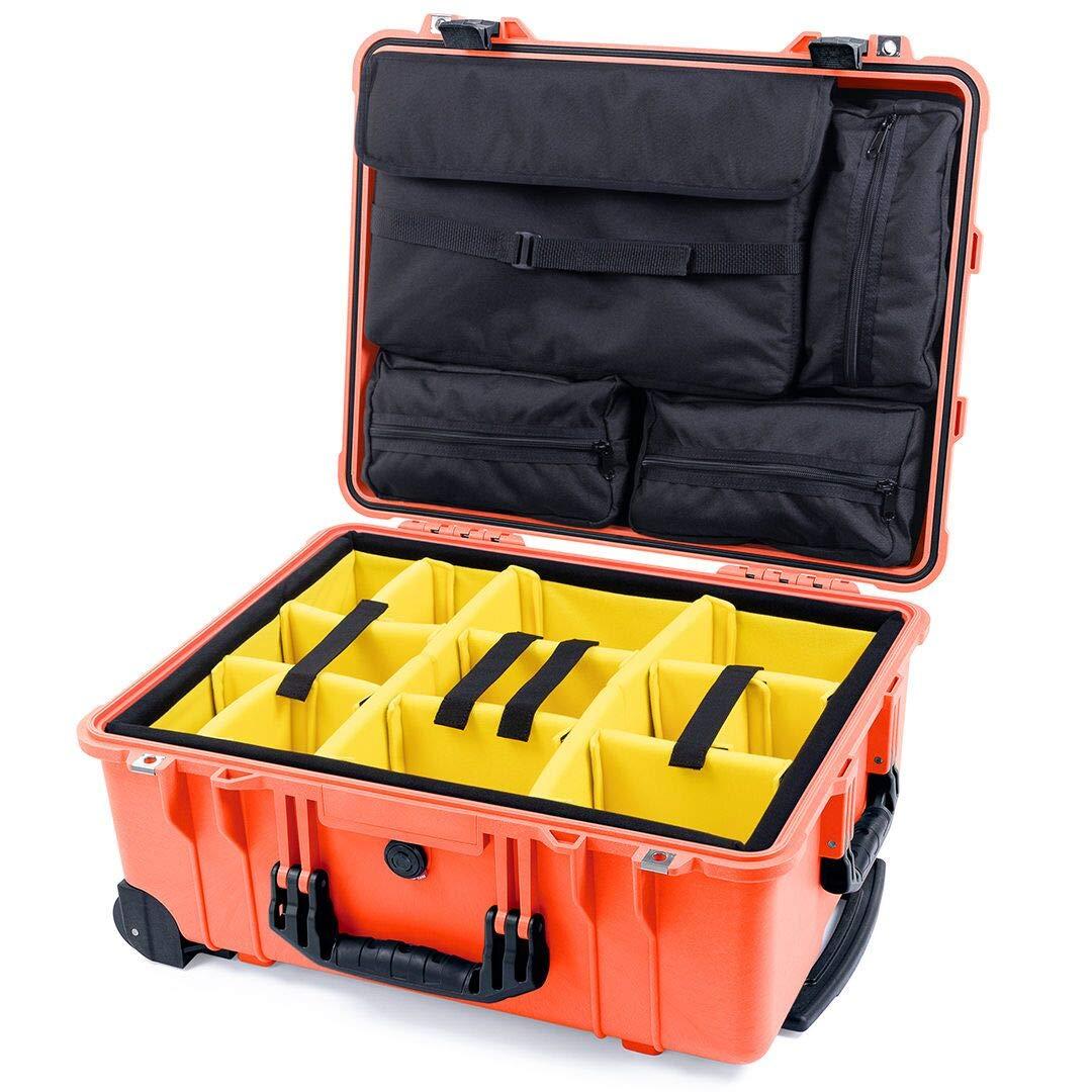 オレンジPelican 1560sc withパッド入りディバイダーと4蓋Pouches。Includes 2 TSAロック