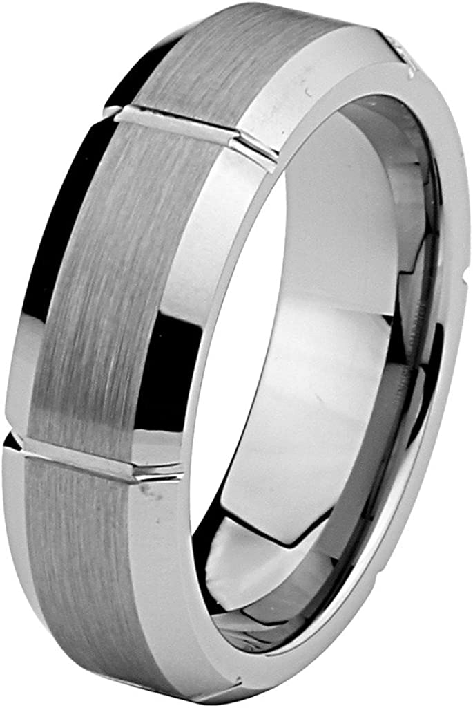 Laser Engraving Service 7mm Beveled Edge Tungsten Comfort-fit Wedding Band Ring Size 5 to 15