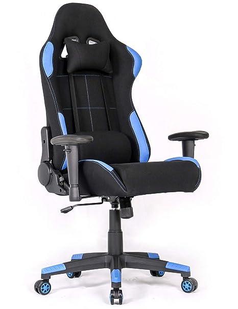 DEMAX Gaming Silla de Oficina Mecanismo de inclinación cojin Lumbar (Azul)