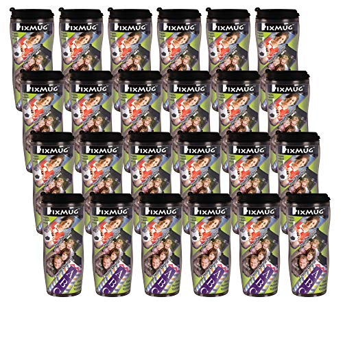 (PixMug - 24 Pack - Photo Travel Mug - The Mug That's A Picture Frame - DIY - Insert Your own Photos or Designs - 14 oz with flip top)