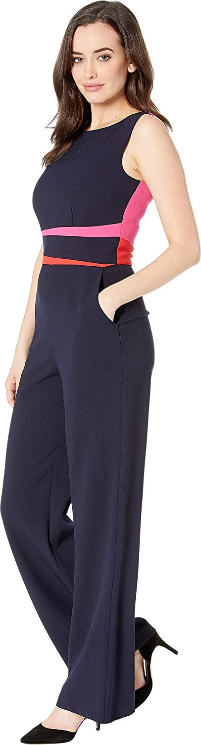 ac3a8ae50ac1 Amazon.com  Vince Camuto Women s Kors Crepe Color Block Wide Leg Jumpsuit  Navy Red 10  Clothing