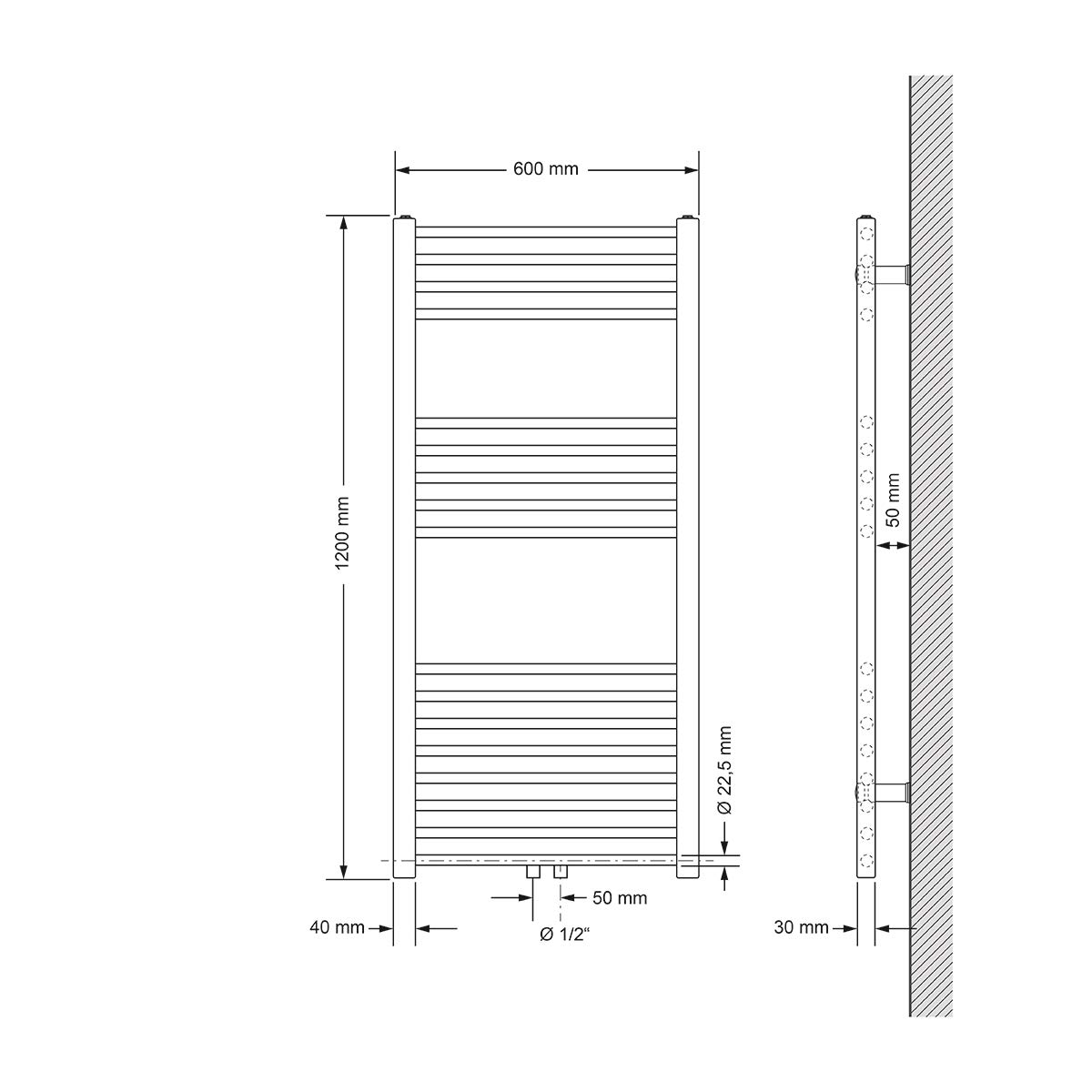 ECD Germany Sahara Badheizk/örper Heizk/örper Handtuchw/ärmer Handtuchtrockner Designheizk/örper Chrom 600 x 1800 mm gerade mit Mittelanschluss