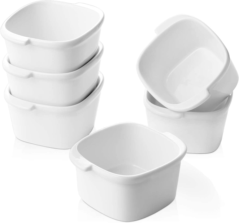 Dowan 4 Oz Porcelain Ramekin, Ramekins Bowls with Handle, Easy to Hold, Oven Safe, Ceramic Ramekins for Baking Creme Brulee Souffle Dessert, Dishwasher Safe, Set of 6, White