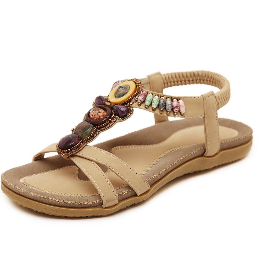 Cicime Women's Summer Thong Flat Sandals T-Strap Bohemian Rhinestone Beaded Beach Flip Flops Shoes