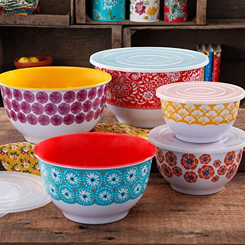 (The Pioneer Woman 10-Piece Traveling Nesting Mixing Serving Bowl Set features Vibrant Colors PACK OF 1)