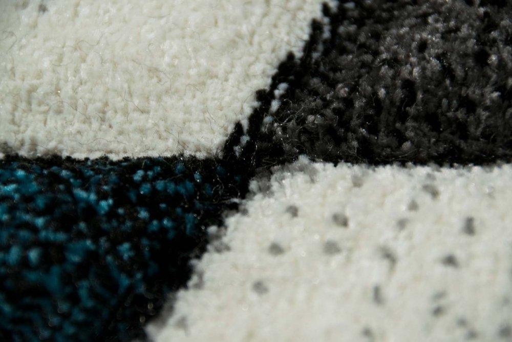 Modern carpet short pile livingroom carpet abstract checkout white gray black turquoise size 120x170 cm