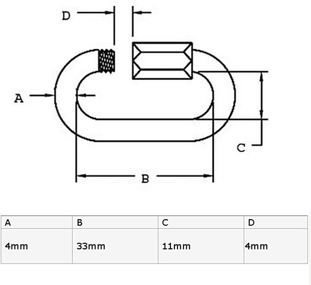 sourcingmap/® /Épaisseur 4mm Liens rapides mousquetons cl/é Ring Ton argent 10 pcs
