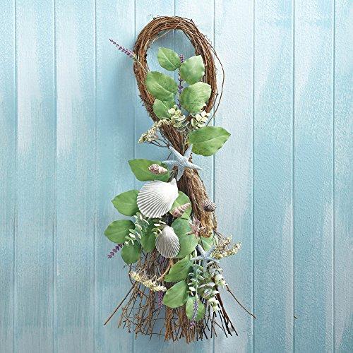 Seashell-Starfish-Leaves-Wall-Swag-Wreath-Beach-Nautical-Coasta-Decoration