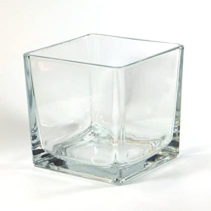 Amazon Vasefill Clear Square Glass Vase Tapered Cube 6 Inch 6