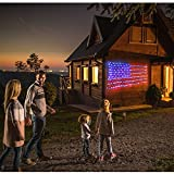 American Flag Light with 420 super bright LED,KAZOKU Waterproof Outdoor Decor garden lights Path Lights Hanging Fairy Lights for Independence Day, Memorial Day, Festival, Holiday, Decoration