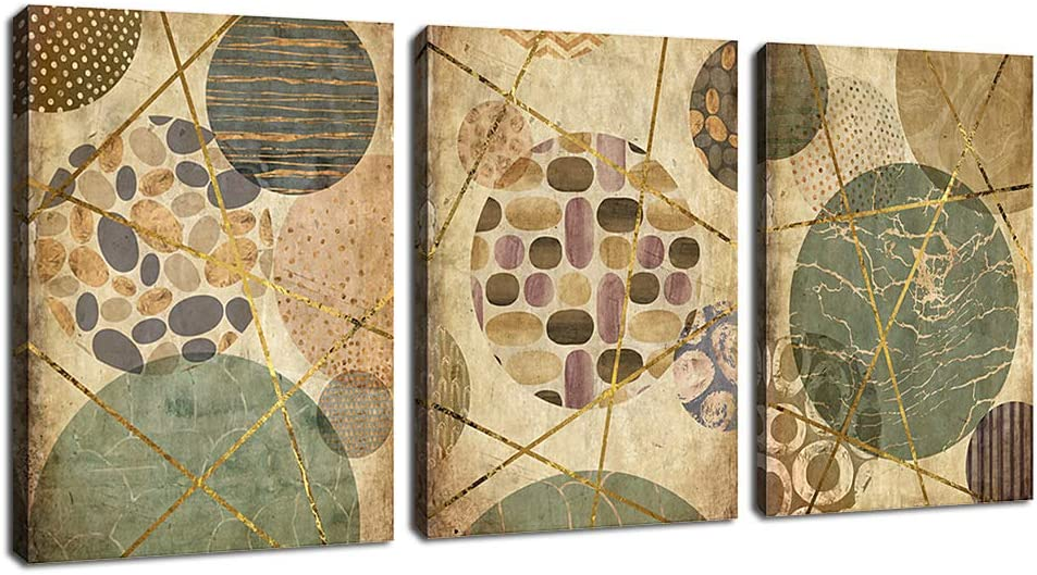 """arteWOODS Vintage Canvas Wall Art Abstract Pattern Circles Dots Contemporary Wall Art Modern Abstract Canvas Pictures Artwork for Living Room Bedroom Bathroom Wall Decoration 12"""" x 16"""" x 3 Pieces"""