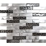 Modket TDH205MO Metallic Silver Stainless Steel Aluminum Metal Glass Mosaic Tile Brick Joint Pattern Backsplash