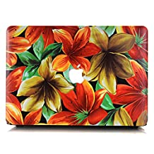 """Neway 2 in 1 bundle Art Fashion Leatherette Top Surface Rubberized Snap-On Hard Cover Case for Apple Macbook,With keyboard Cover,Mac Pro 13"""" with CD-ROM(A1278),Colour:YH-21(Hibiscus Flower)"""