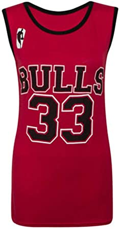 Ladies Womens Bulls 33 Vest Top Varsity American Basketball Jersey T-shirt Tank