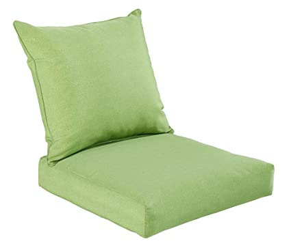 Bossima Indoor/Outdoor Green/Grey Piebald Deep Seat Chair Cushion Set .Spring/