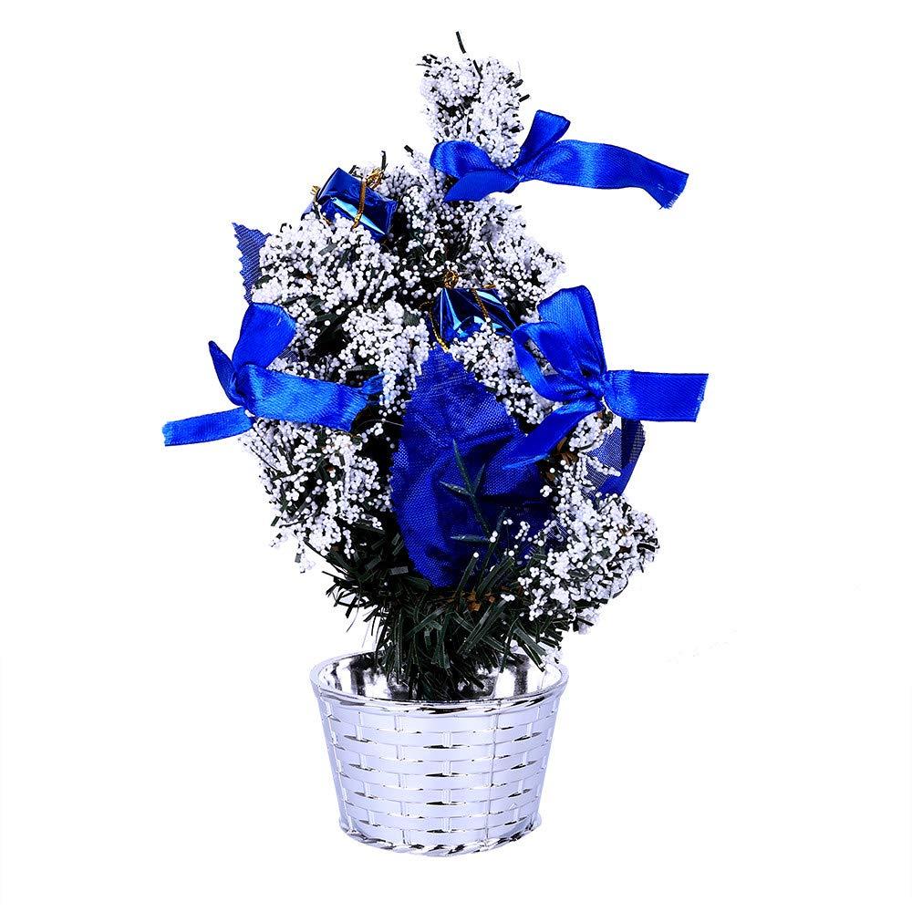 Sunshinehomely Mini Christmas Tree Xmas Decor Table Decoration Small Party Ornament Xmas Festival Gift 20cm (Blue)