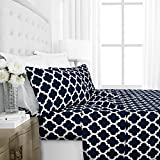 allergenic sheets - Egyptian Luxury 1600 Series Hotel Collection Quatrefoil Pattern Bed Sheet Set - Deep Pockets, Wrinkle and Fade Resistant, Hypoallergenic Sheet and Pillowcase Set - King - Navy