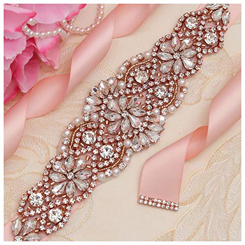 Yanstar Blush Sash Crystal Applique Wedding Bridal Belts In Rose Gold With Pearls Beaded On Wedding Prom Dress-7.7In2In