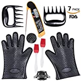 BBQ Grill Oven Set 2 Silicone Oven Glove Heat Resistant 1 Digital Cooking Thermometer 2 Meat...