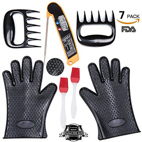 BBQ Grill Oven Set 2 Silicone Oven Glove Heat Resistant 1 Digital Cooking Thermometer 2 Meat Shredder Claws 2 Silicone Basting Brush For BBQ Accessories Grill Outdoor Cooking Set
