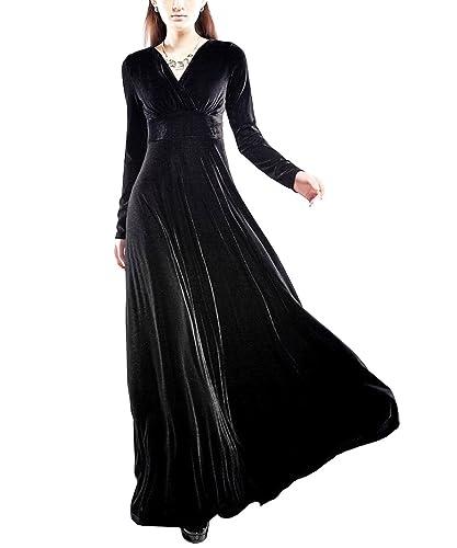 KAXIDY Vestiti da Donna Scollo a V Lungo Manica Vestito Velvet Abiti di Sera Abiti