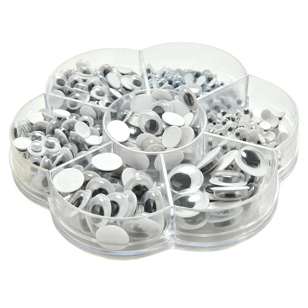 Non-Adhesive Dengguoli 500 Pcs Wiggly Googly Eyes Scrapbooking for Hand Craft Doll Accessories Moveable Black Joggle Eyes Moodwood