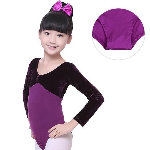 c6fbd174db3d Toomett Child Kids Girls Velvet Cotton Gymnastics Leotard Long Sleeve  Ballet Dance Leotard Dancewear #1056