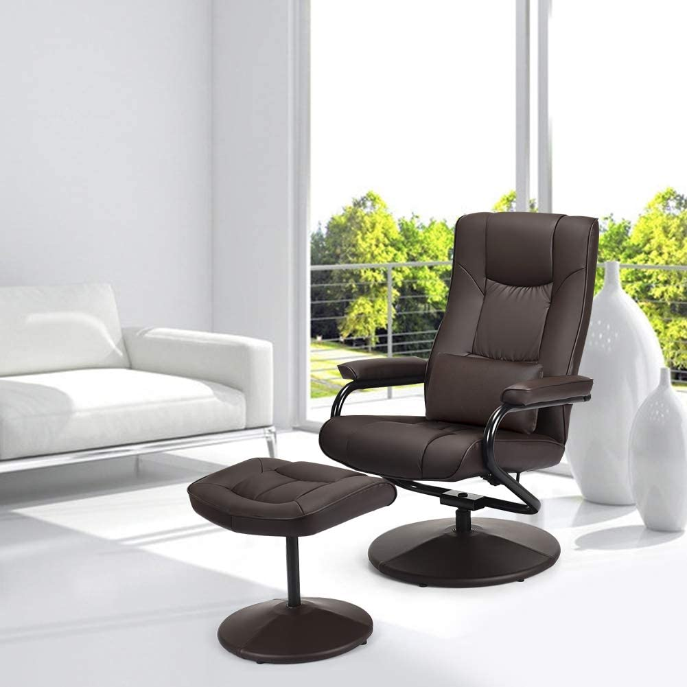 Swivel Recliner Chair, WaterJoy PU Leather Lounge Armchair Recliner, 360 Degree Swivel Overstuffed Padded Seat Chair with Footrest Stool Ottoman Set