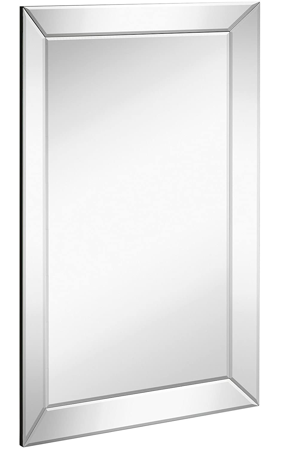 Amazon Large Framed Wall Mirror With Angled Beveled Mirror