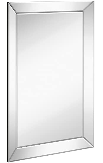 large framed wall mirror with angled beveled mirror frame premium silver backed glass panel vanity