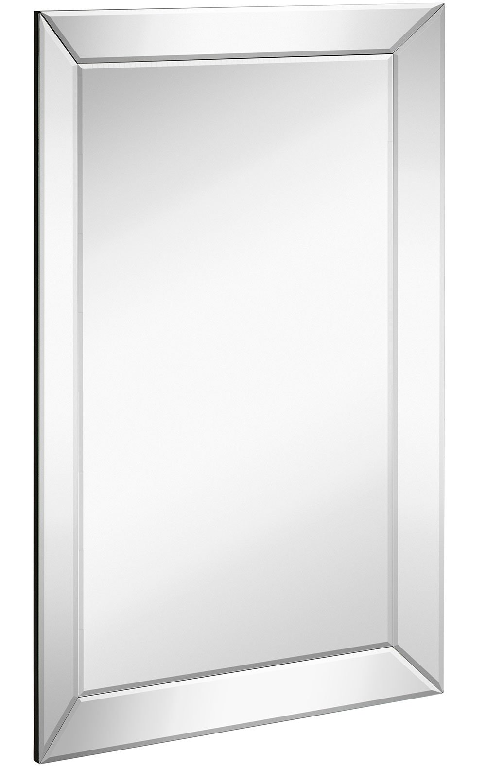 Large Framed Wall Mirror with Angled Beveled Mirror Frame | Premium Silver Backed Glass Panel Vanity, Bedroom, or Bathroom | Luxury Mirrored Rectangle Hangs Horizontal or Vertical (20'' x 30'')