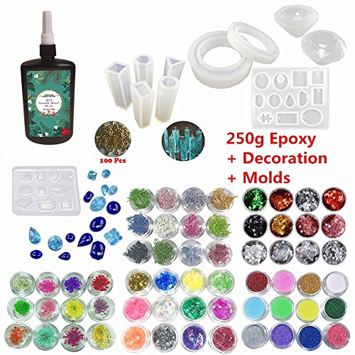 UV Resin Transparent Non-Toxic Jewelry Making Kit 250g Crystal Epoxy + 11 Molds + 100 Screws + 24 Flowers + 12 Glassines + 12 Holographic Multi-Colored Decoration + 12 Pigment Glitters Multi-Colored