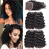 PANEWAY Brazilian 10A Deep Curly Hair With Closure 4 Bundles With Closure 100% Unprocessed Virgin Human Hair Curly Weave Brazilian Kinky Curly Hair Extensions Natural Color (10 12 12 14+10)