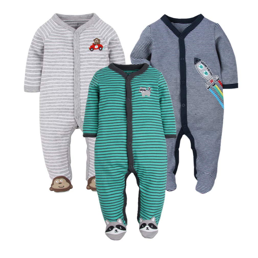 GLMTOU Newborn Baby Footed Pajamas 3-Pack Boys and Girls Stripe Jumpsuits Cotton Long Sleeve Animal Printed Clothing