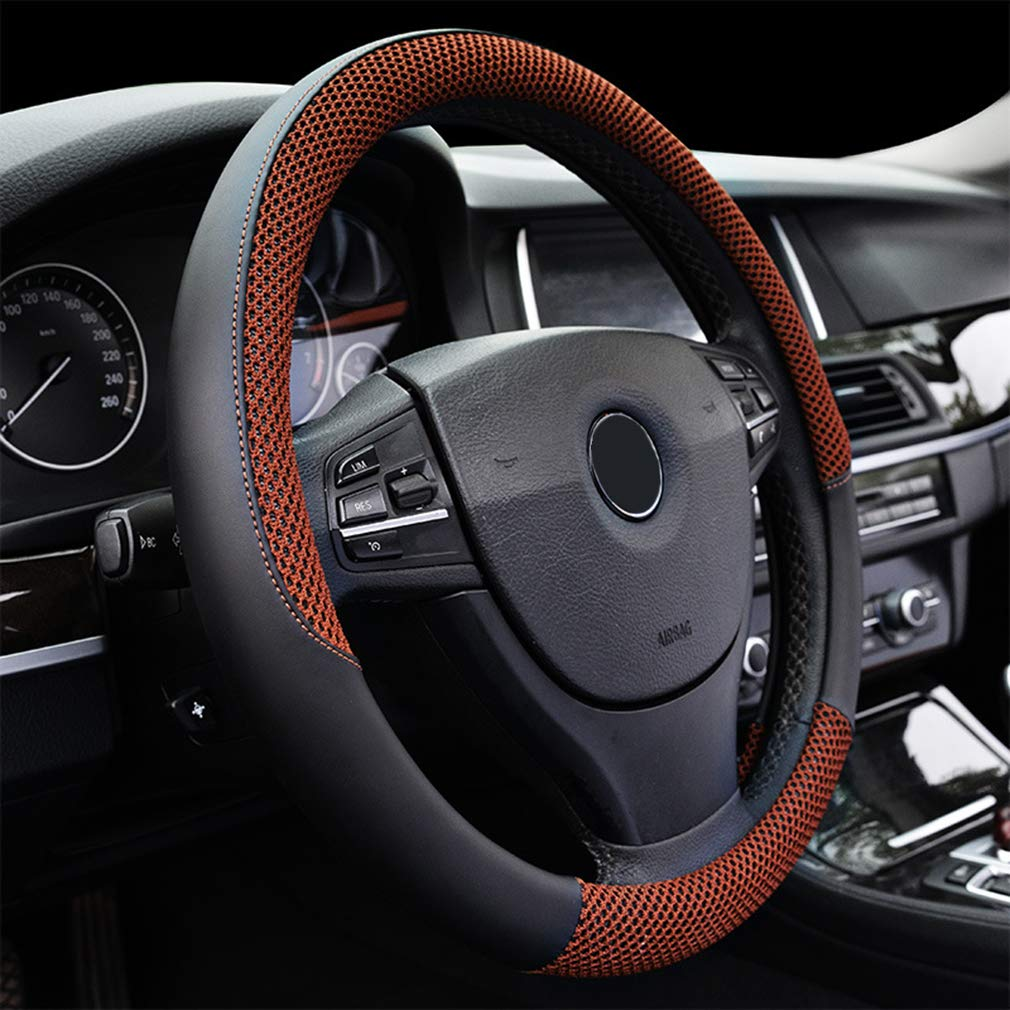 """LucaSng Black and Coffee Microfiber Leather and Ice Silk Fabrics Car Steering Wheel Cover Fit 14.56/""""-14.96/"""""""
