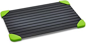 Pixemies Defrosting Tray - Large Aluminum Plate - Miracle Thawing Tray - No Heat Defrosting - Quick Thawing - Food Safe Metal - Silicone Corners - Dishwasher Safe - Black/Neon Green