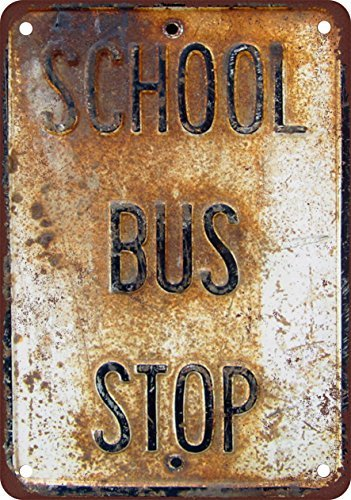 School Bus Stop Vintage Look Reproduction Metal Tin Sign 7X10 ()