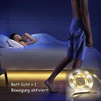 Jindia Dimmbar Bewegung Aktiviert Bett Licht Flexible Led Streifenlicht Auto Ein Aus Bewegungsmelder Nachttischlampe Bewegung Aktivierte