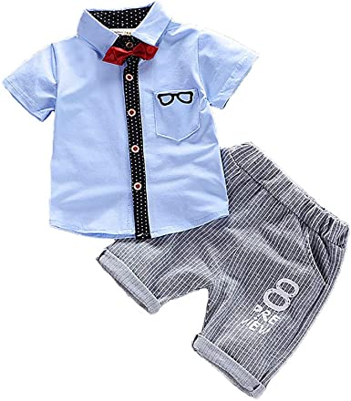 LittleSpring Baby Boys Summer Gentleman Romper Infant Boys Short Sleeve Jumpsuit 1-2T