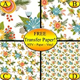 Floral Bunches Pattern Printed Heat Transfer Vinyl (Style A - 12 x 24)